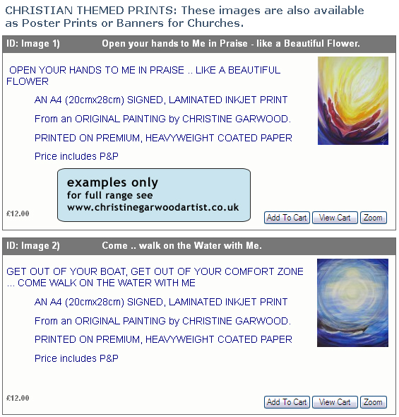 Christian Themed Prints - examples only - for full range see www.christinegarwoodartist.co.uk