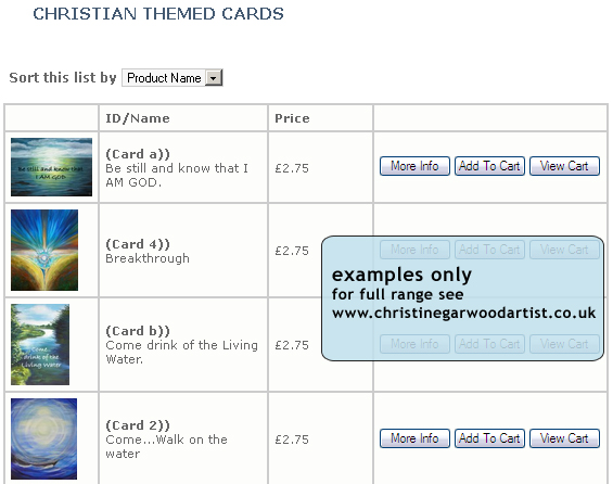 Christian Themed Cards - examples only - for full range see www.christinegarwoodartist.co.uk